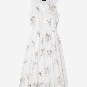 Maison embellished embroidered cotton-poplin midi dress