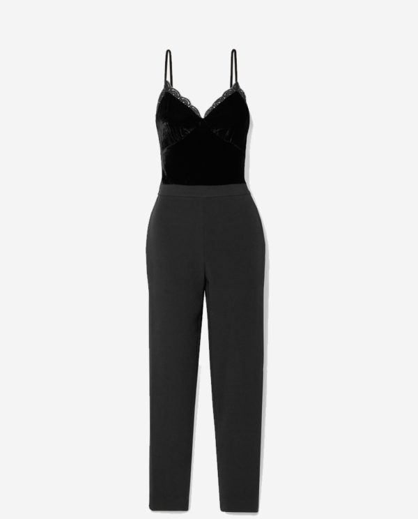 Lace-trimmed cady and velvet jumpsuit