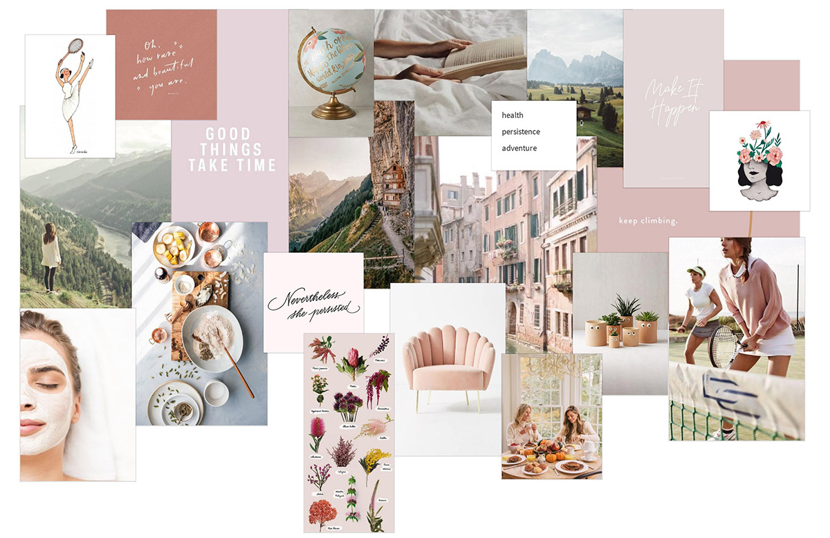 Moodboard in earth tone colors for planning new year resolutions for 2020